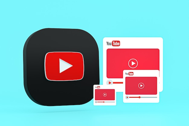 Youtube-logo und 3d-design des video-players oder benutzeroberfläche des video-media-players