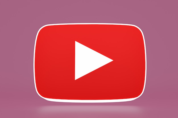 Youtube-logo und videoplayer 3d-design oder video media player-schnittstelle