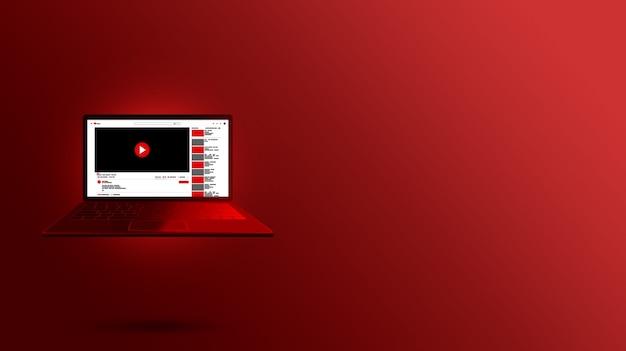 Youtube-schnittstelle auf rotem laptop-bildschirm design