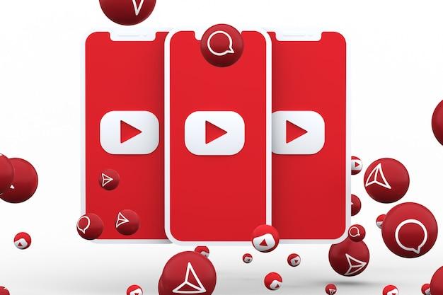 Youtube-symbol auf dem bildschirm smartphone oder handy und youtube-reaktionen anruf isoliert