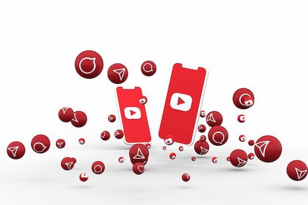 Youtube-symbol auf dem bildschirm smartphone oder handy und youtube-reaktionen rufen mit isoliertem hintergrund