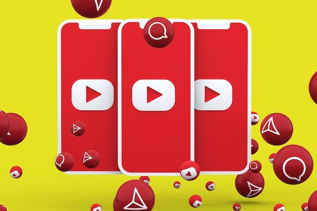 Youtube-symbol auf dem bildschirm smartphone und youtube-reaktionen mit isoliert anrufen
