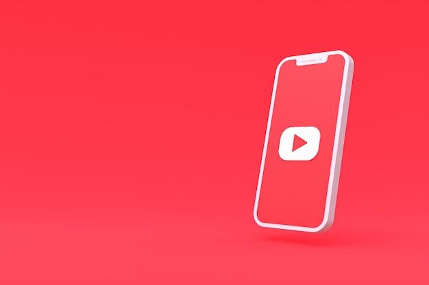 Youtube-symbol auf dem smartphone-bildschirm
