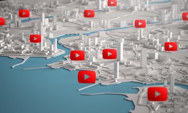 Youtube-symbol über luftaufnahme von stadtgebäuden 3d-rendering