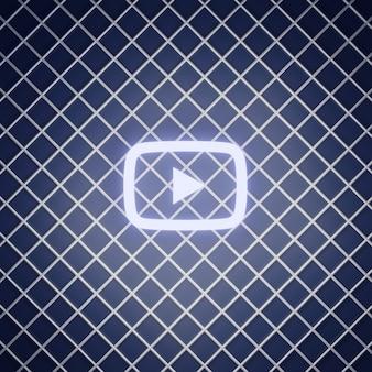 Youtube-zeichen neon-effekt rendern