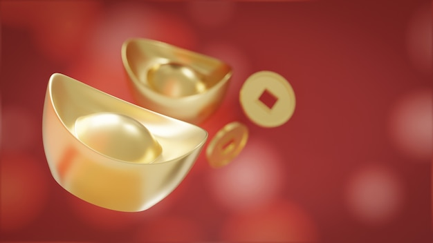 Yuan bao. chinesisches gold sycee und münze isoliert auf rot Premium Fotos