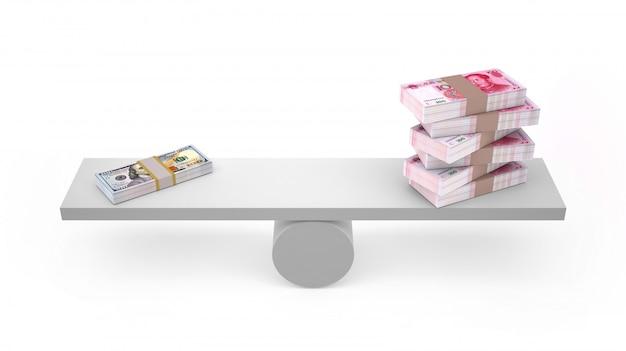 Yuan und dollar auf ausgeglichenem getrennt