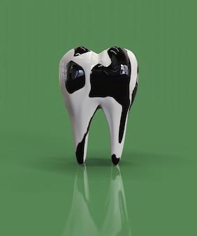 Zähne mit tupfen wie eine kuh. konzept der starken zähne wegen des trinkens von kuhmilch. 3d rendern.