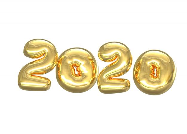 Zahlen von 2020 goldenen ballonen