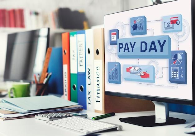 Zahltag gehalt einkommen gehaltsscheck löhne zahlungen konzept