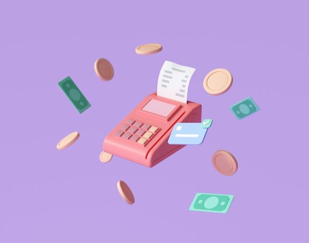 Zahlungskonzept kreditkarte, zahlungsterminal und banknoten schwebende münzen herum auf lila hintergrund. geldsparende, bargeldlose gesellschaft. 3d-renderillustration
