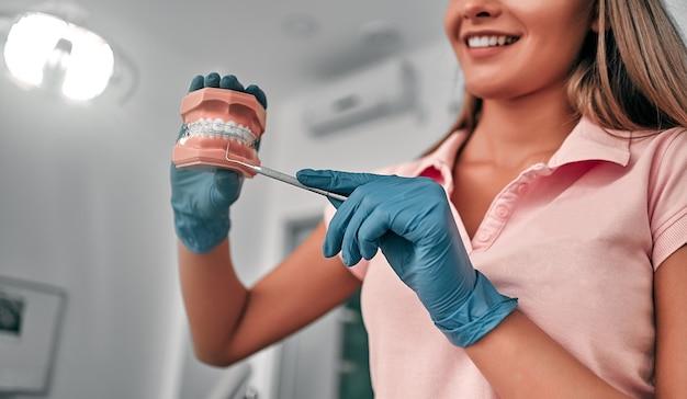 Zahnärztin, die eine probe von kieferzähnen in einer zahnarztpraxis hält, schulung in der richtigen zahnreinigung, demonstration der mundhygiene