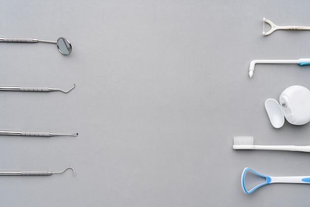 Zahnärztliche geräte aus der draufsicht, flach im studio liegen