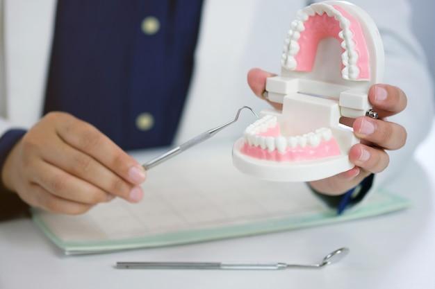 Zahnarzt, der eine ärztliche behandlung der geduldigen zähne im zahnmedizinischen büro überprüft