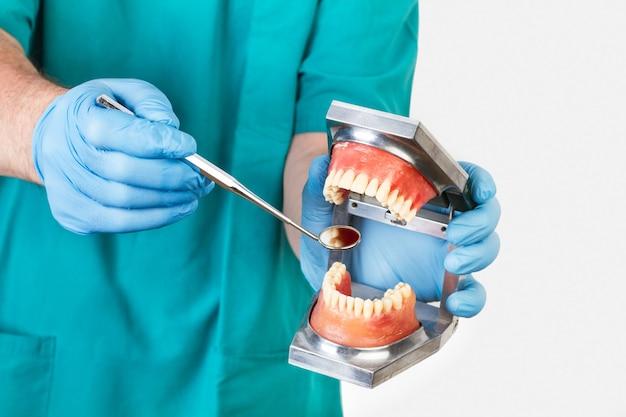 Zahnarzt zeigt mit einem zahnarzt spiegel eine kunststoffprothese
