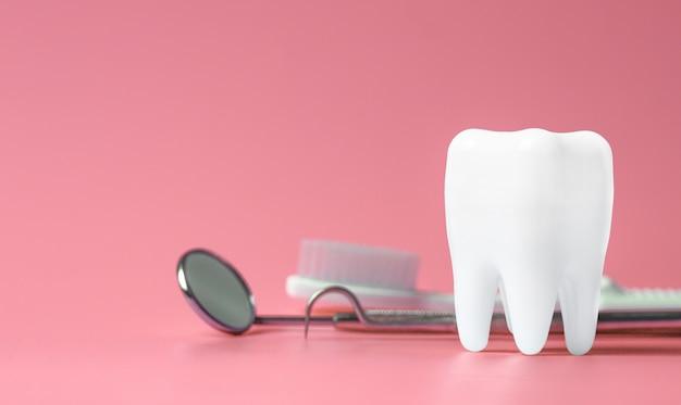Zahnmedizinisches modell und zahnmedizinische ausrüstung auf rosa