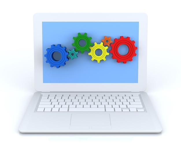 Zahnräder im weißen laptop. 3d-rendering-bild