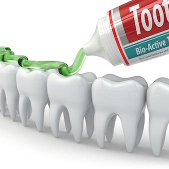 Zahnschutz, zähne und zahnpasta auf weißem hintergrund. 3d