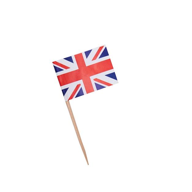 Zahnstocher mit einer papierflagge des vereinigten königreichs, britische flagge auf einem hölzernen zahnstocher