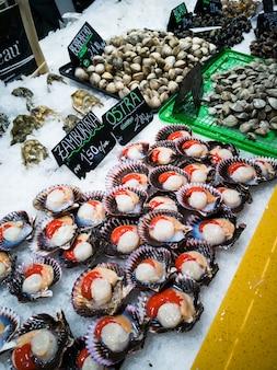Zamburien und austern auf der theke eines fischmarktes