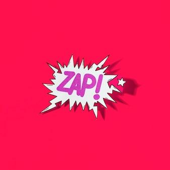 Zap! comic-explosion der pop-art-karikatur auf rotem hintergrund