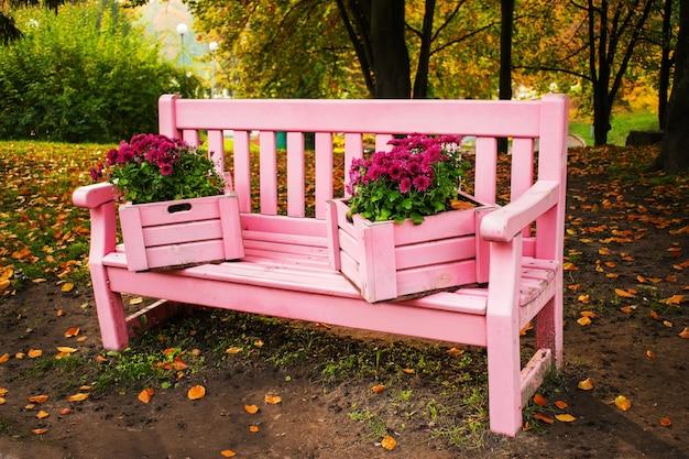 Zart rosa bank, verziert mit kästen mit chrysanthemen