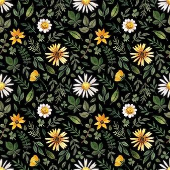 Zarte gepresste blumenaquarell-nahtlose muster und getrocknete blumenarrangements werden auf schwarzem hintergrund in natürlicher farbpalette platziert.