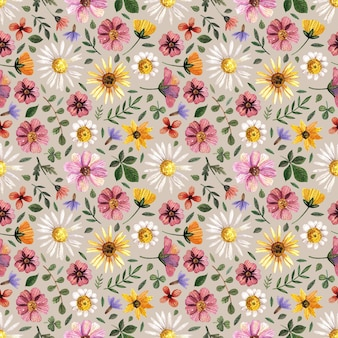 Zarte gepresste florale aquarelle nahtlose muster und getrocknete blumenarrangements