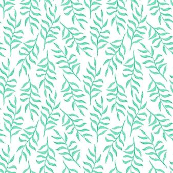 Zartes nahtloses aquarellmuster mit smaragdgrünen blättern und zweigen auf weiß