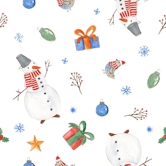 Zartes nahtloses weihnachtsmuster mit niedlichen aquarell-schneemann-geschenkbox-vögeln und schneeflocken