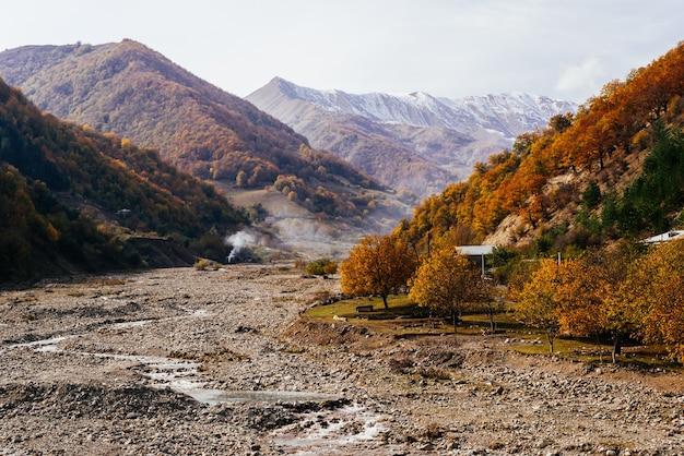 Zauberhaft bezaubernde natur und landschaft, die berghänge sind mit bäumen und pflanzen bedeckt