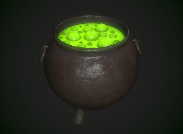 Zaubertopf mit trank im hintergrund