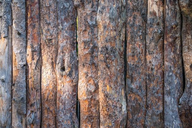 Zaun aus alten kiefernstämmen mit rissen und rinde
