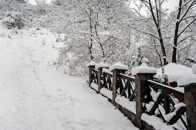Zaun mit schnee bedeckt. winterlandschaft auf dem land.