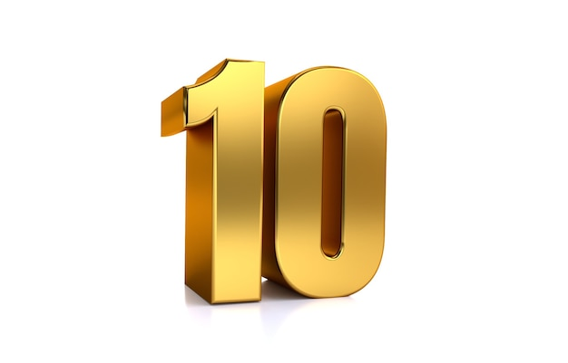 Zehn 3d-illustration goldene zahl 10 auf weißem hintergrund und kopienraum auf der rechten seite für text am besten für jubiläumsgeburtstag neujahrsfeier