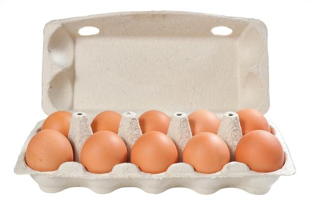 Zehn braune eier in der kartonverpackung isoliert