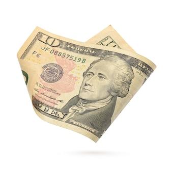 Zehn-dollar-schein. us-währungsbanknote isoliert auf weißem hintergrund.