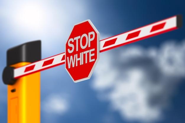 Zeichen stop weiß am himmel.