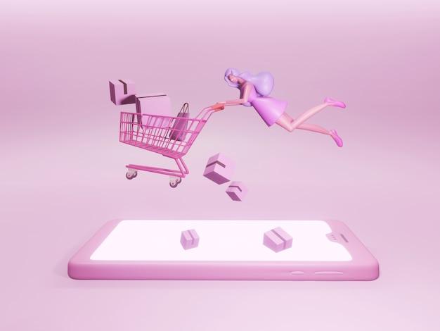 Zeichentrickfigur einer hübschen und glücklichen frau, die mit einem einkaufswagen über einem mobiltelefon fliegt.