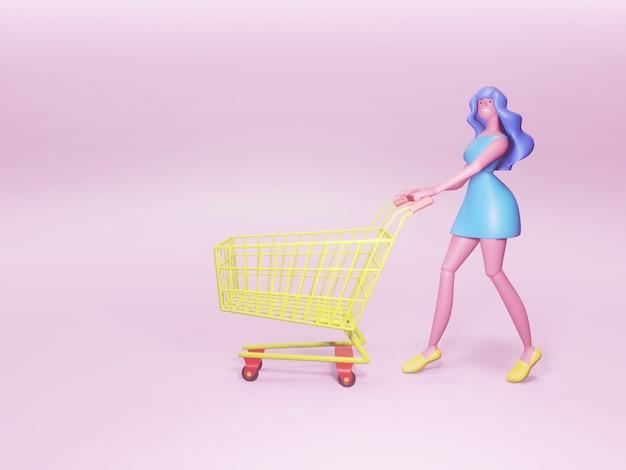 Zeichentrickfigur einer hübschen und glücklichen frau mit einem einkaufswagen.