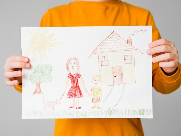 Zeichnung einer alleinerziehenden mutter mit ihrem kind