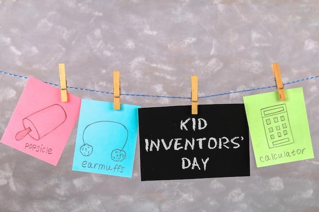 Zeichnungen von kindererfindungen - eis am stiel, ohrenschützer, taschenrechner.