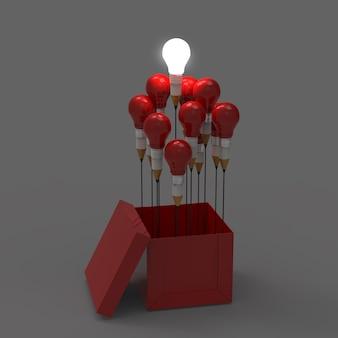 Zeichnungsideenbleistift und glühlampekonzept außerhalb des kastens als kreativ