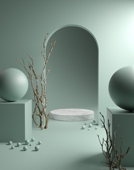 Zeigen sie marmorausstellung auf sage green background 3d render an