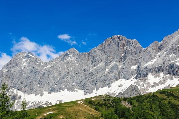 Zeigen sie nahaufnahme alpine berge im nationalpark dachstein, österreich, europa an. blauer himmel und grüner wald am sommertag