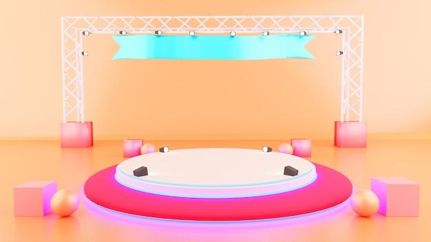 Zeigen sie scheinwerfer moke up stage illustration hintergrund 3d-rendering