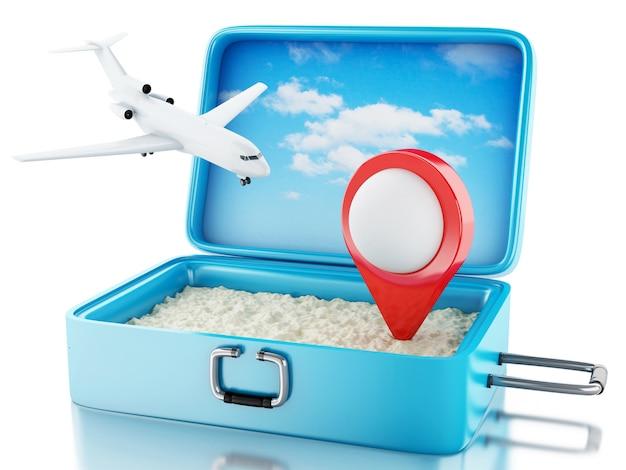 Zeiger des flugzeuges 3d und der karte in einem reisekoffer.