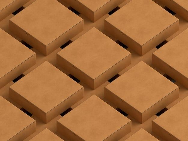 Zeilen und spalten von pappkartons