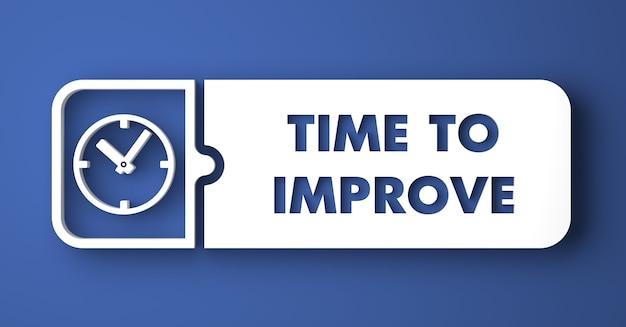 Zeit, das konzept zu verbessern. weißer knopf auf blauem hintergrund im flachen entwurfsstil.