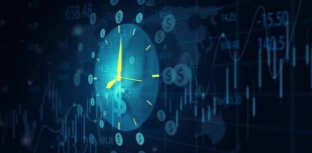 Zeit ist geld finanzielle geschäftsidee investition und handel pünktlich konzept